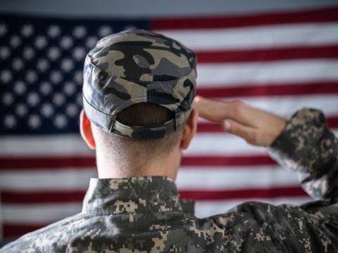 A Veteran saluting the Flag