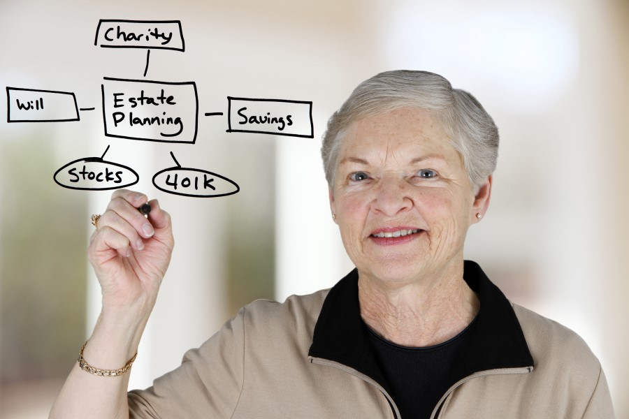 A photo of a woman writing her estate planning options on an invisible board