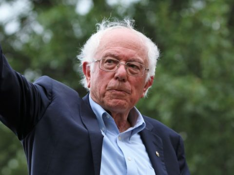 An image of Senator Bernie Sanders waving